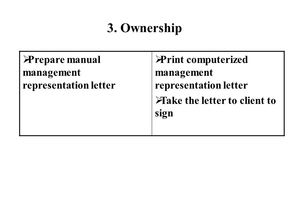 Prepare manual management representation letter Print computerized management representation letter Take the letter to client to sign 3.