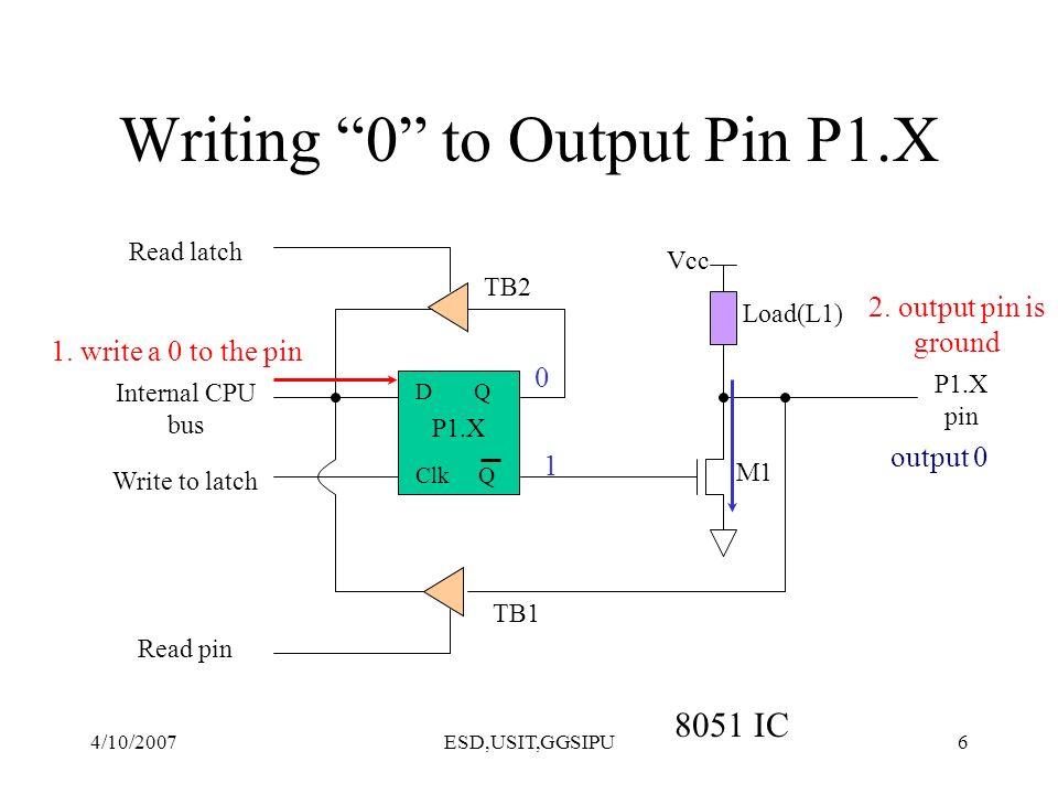 4/10/2007ESD,USIT,GGSIPU17 Read-Modify-Write Instructions ExampleMnemonics SETB P1.4SETB PX.Y CLR P1.3CLR PX.Y MOV P1.2,CMOV PX.Y,C DJNZ P1,TARGETDJNZ PX, TARGET INC P1INC CPL P1.2CPL JBC P1.1, TARGETJBC PX.Y, TARGET XRL P1,AXRL ORL P1,AORL ANL P1,AANL DEC P1DEC