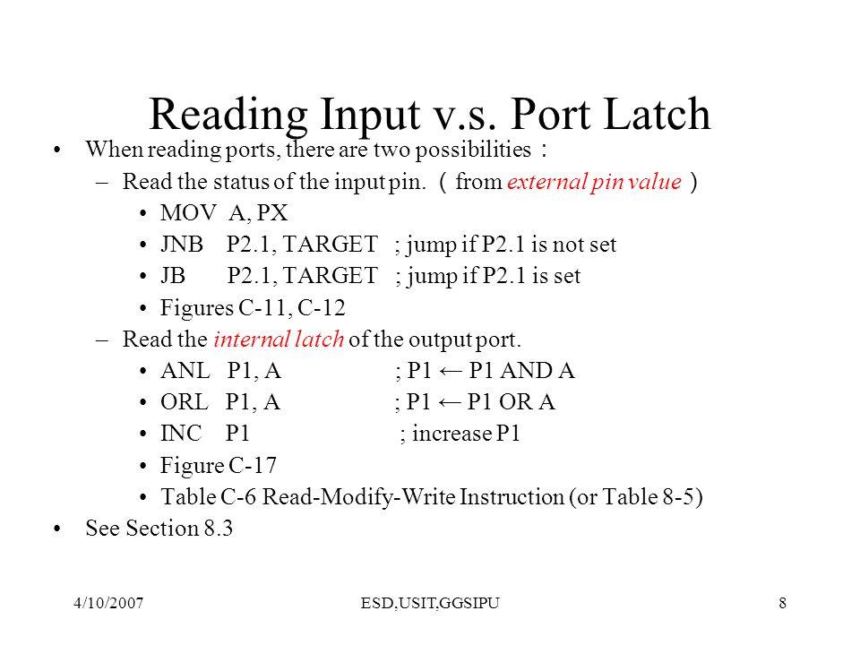 4/10/2007ESD,USIT,GGSIPU9 Reading High at Input Pin D Q Clk Q Vcc Load(L1) Read latch Read pin Write to latch Internal CPU bus M1 P1.X pin P1.X 8051 IC 2.