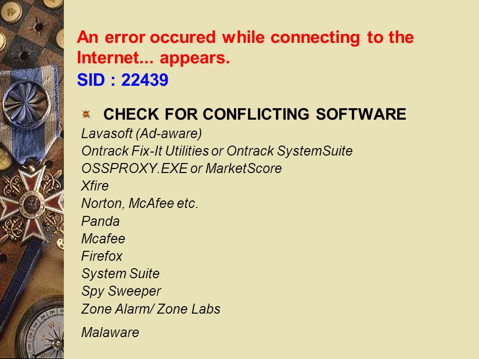 An error occured while connecting to the Internet...