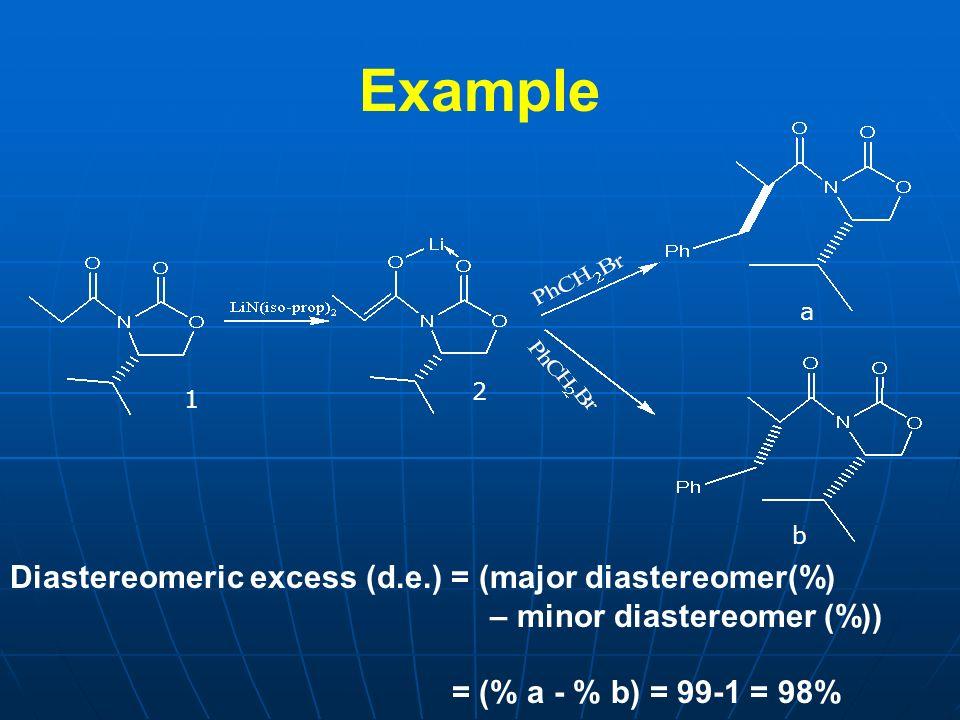 Example a b Diastereomeric excess (d.e.) = (major diastereomer(%) – minor diastereomer (%)) = (% a - % b) = 99-1 = 98% 1 2