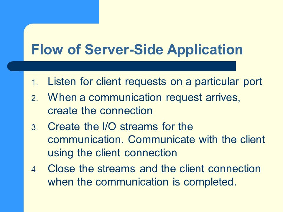 Flow of Server-Side Application 1. Listen for client requests on a particular port 2.