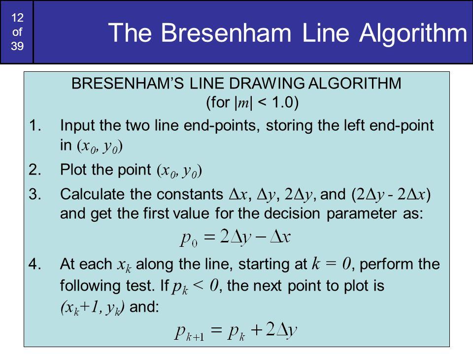 12 of 39 The Bresenham Line Algorithm BRESENHAMS LINE DRAWING ALGORITHM (for   m   < 1.0) 1.Input the two line end-points, storing the left end-point