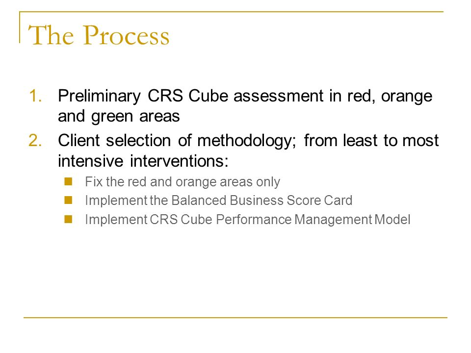 The Process 1.Preliminary CRS Cube assessment in red, orange and green areas 2.Client selection of methodology; from least to most intensive interventions: Fix the red and orange areas only Implement the Balanced Business Score Card Implement CRS Cube Performance Management Model