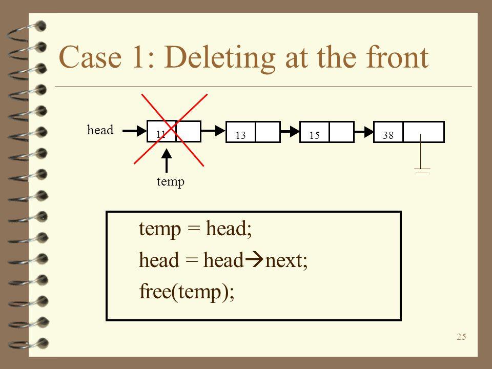 25 Case 1: Deleting at the front temp = head; head = head next; free(temp); 381513 11 head temp