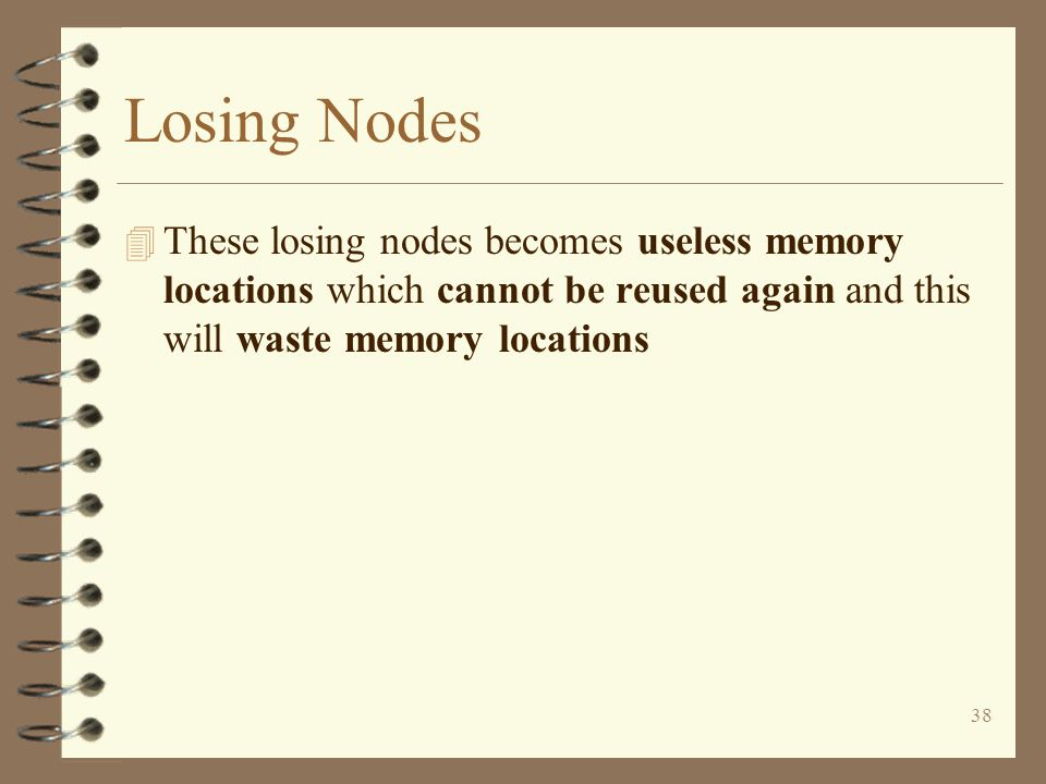 38 Losing Nodes 4 These losing nodes becomes useless memory locations which cannot be reused again and this will waste memory locations
