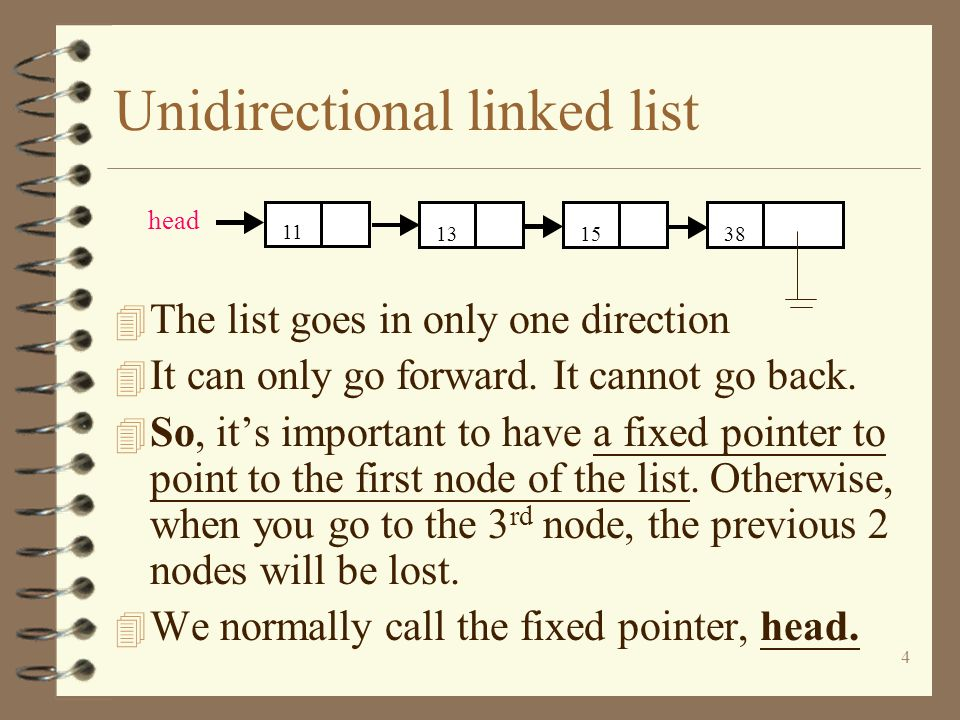 4 Unidirectional linked list 4 The list goes in only one direction 4 It can only go forward. It cannot go back. 4 So, its important to have a fixed po