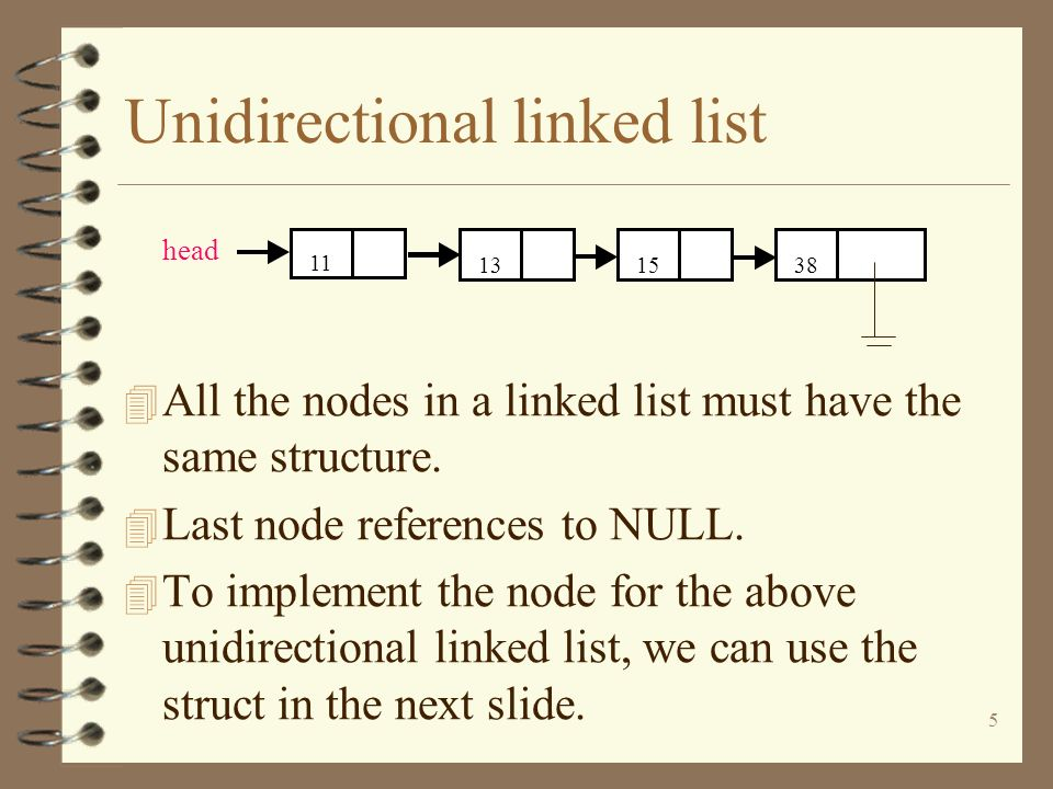 5 Unidirectional linked list 4 All the nodes in a linked list must have the same structure. 4 Last node references to NULL. 4 To implement the node fo