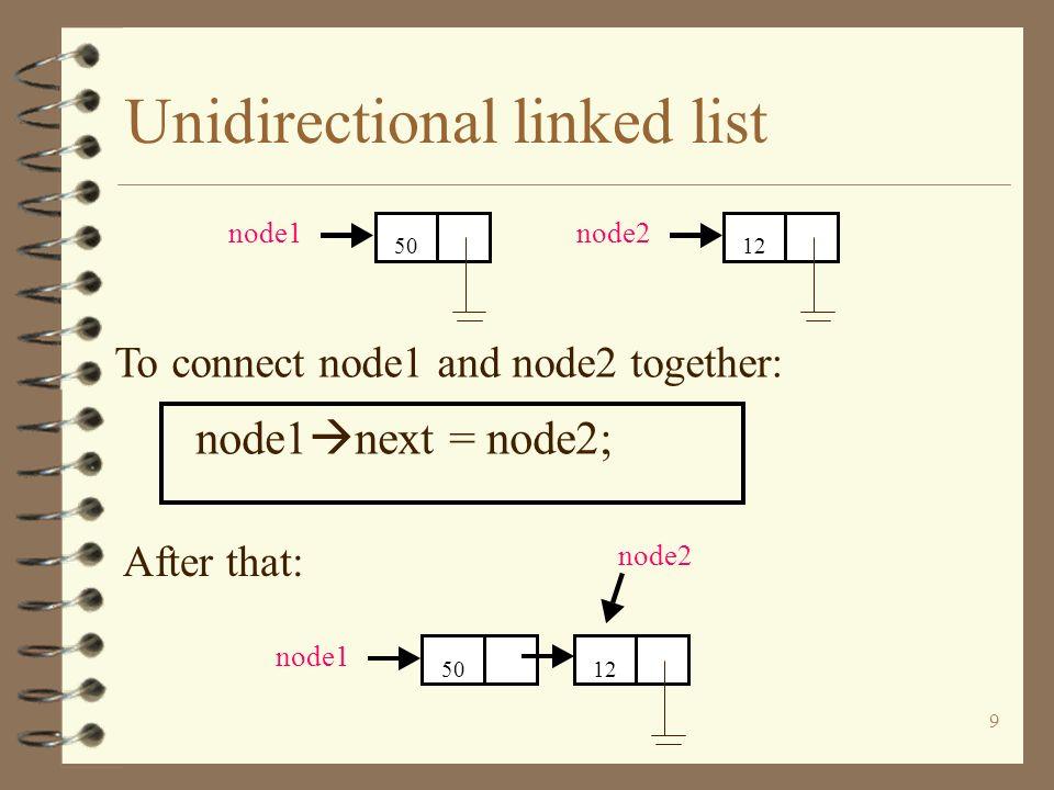 9 Unidirectional linked list node1 next = node2; 12 node2 To connect node1 and node2 together: 50 node1 After that: 12 node2 50 node1