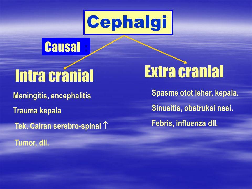 Cephalgi Causal : Intra cranial Extra cranial Meningitis, encephalitis Trauma kepala Tek. Cairan serebro-spinal Tumor, dll. Spasme otot leher, kepala.