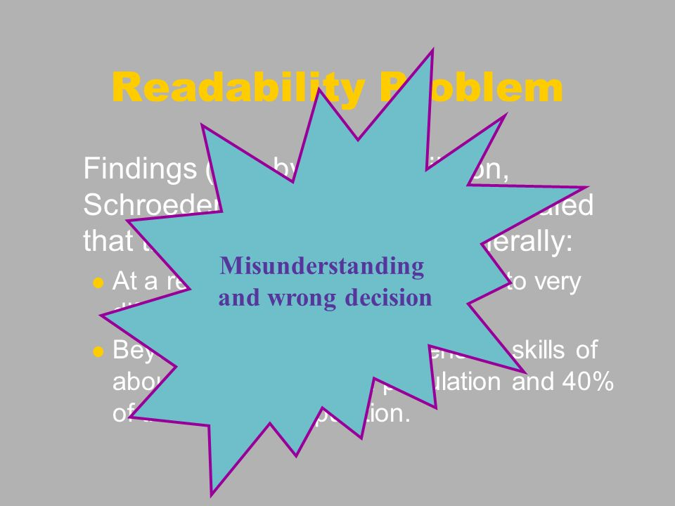 Readability Problem Findings (e.g.