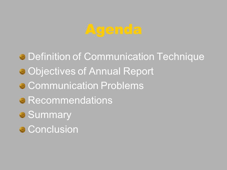 Definition of Communication Technique