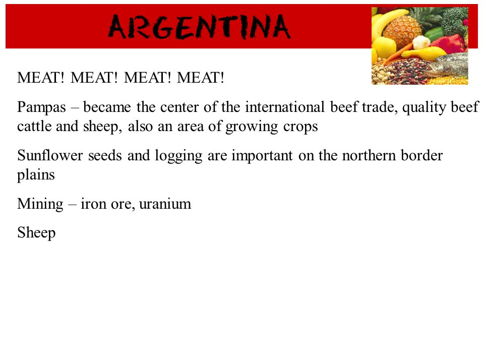 MEAT! MEAT! Pampas – became the center of the international beef trade, quality beef cattle and sheep, also an area of growing crops Sunflower seeds a