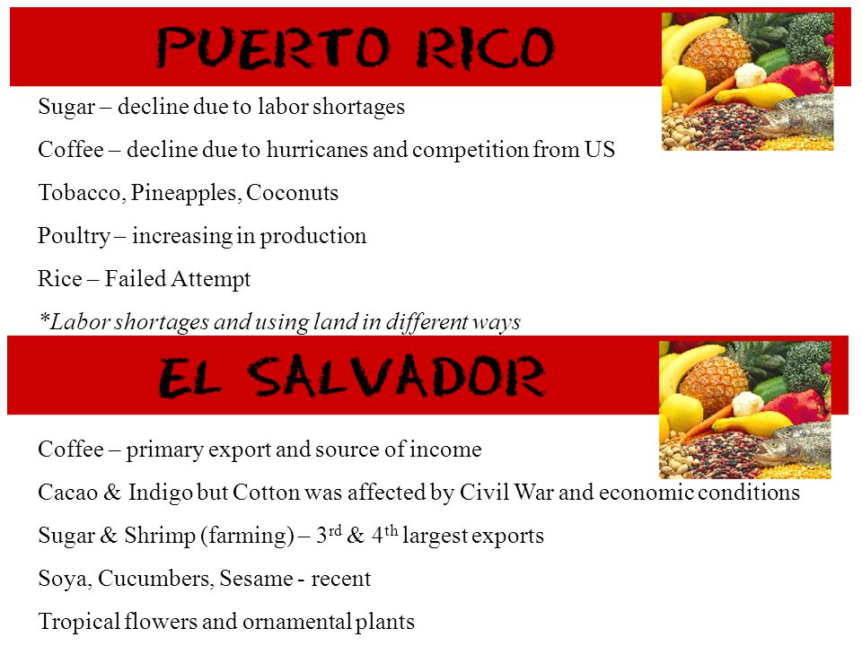 Sugar – decline due to labor shortages Coffee – decline due to hurricanes and competition from US Tobacco, Pineapples, Coconuts Poultry – increasing i