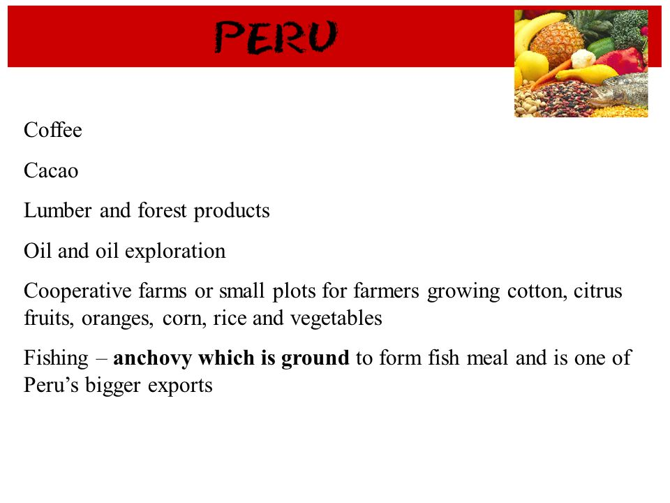 Coffee Cacao Lumber and forest products Oil and oil exploration Cooperative farms or small plots for farmers growing cotton, citrus fruits, oranges, c