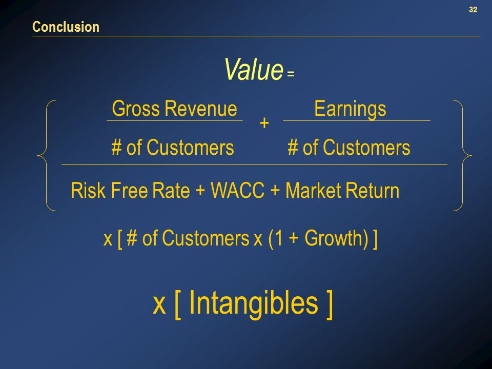 32 Conclusion + Gross Revenue # of Customers Earnings # of Customers Risk Free Rate + WACC + Market Return x [ # of Customers x (1 + Growth) ] x [ Intangibles ] Value =