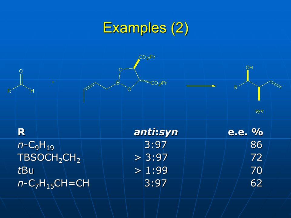 Examples (2) Ranti:syn e.e.