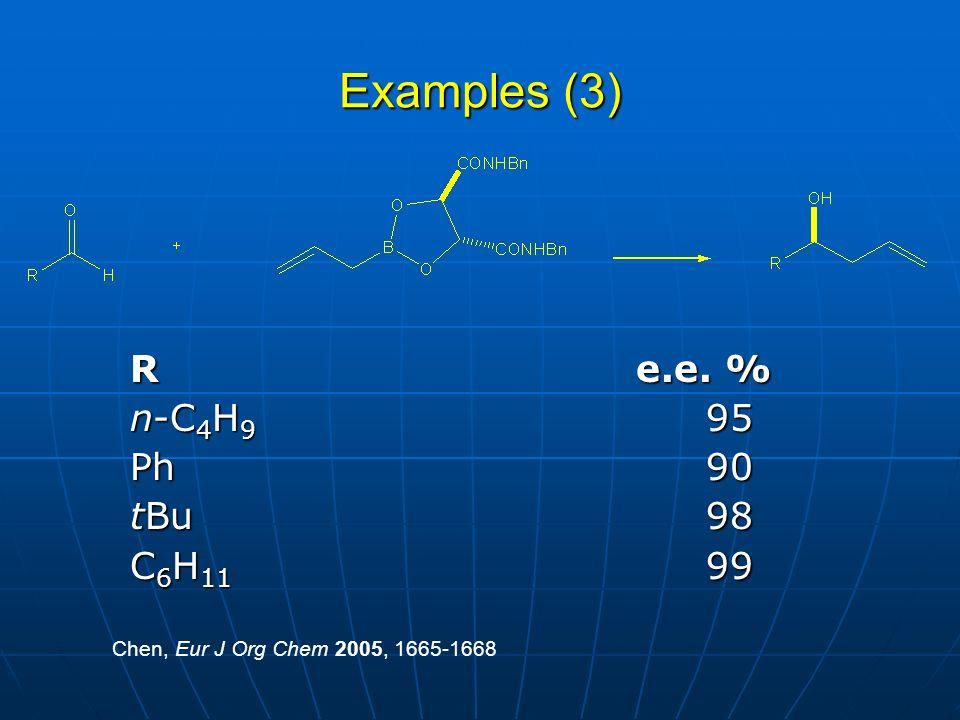 Examples (3) R e.e. % n-C 4 H 9 95 Ph90 tBu98 C 6 H 11 99 Chen, Eur J Org Chem 2005, 1665-1668