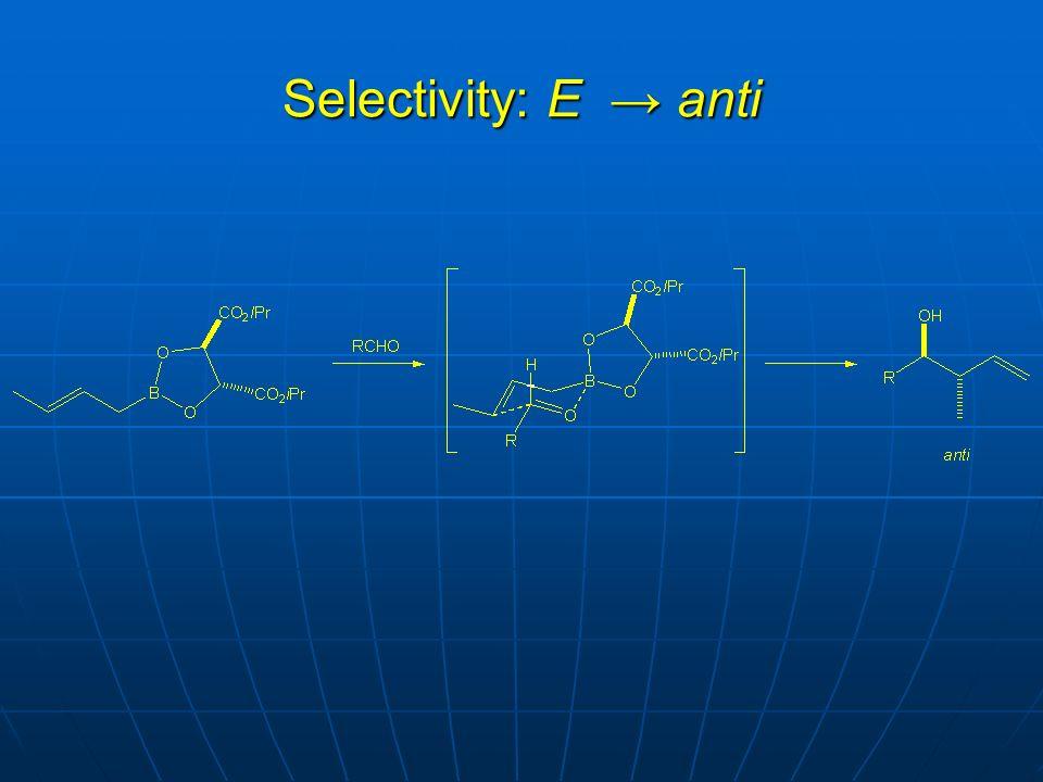 Selectivity: E anti