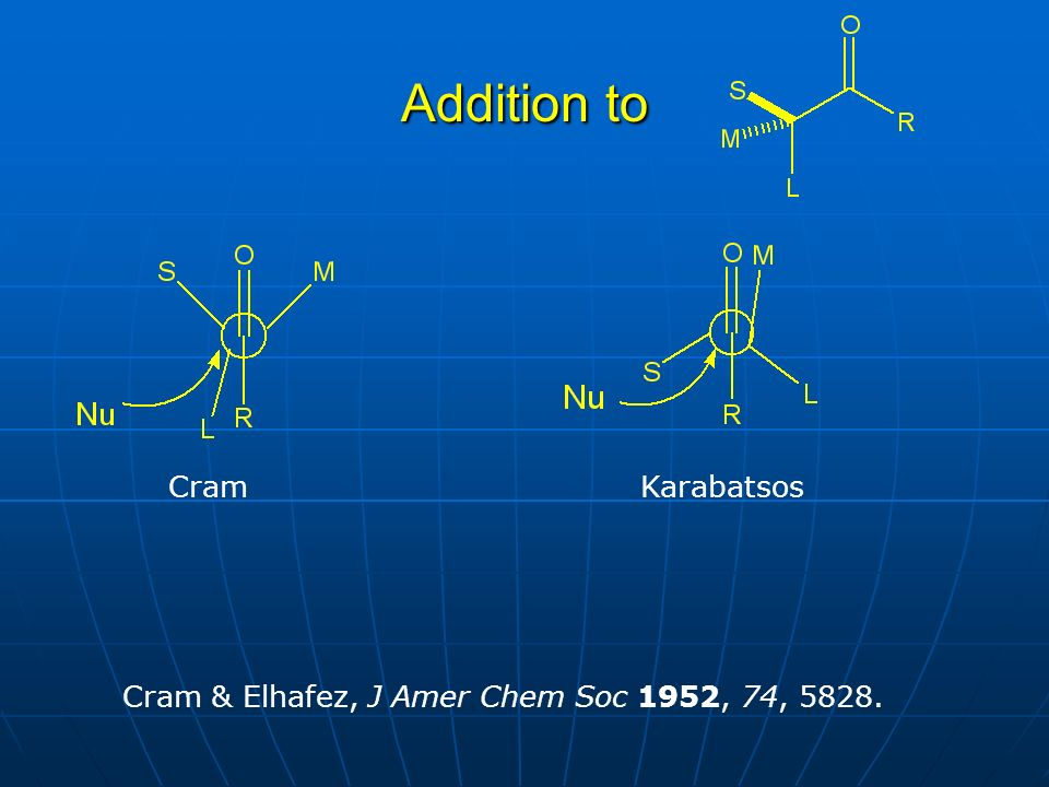 Addition to Cram & Elhafez, J Amer Chem Soc 1952, 74, 5828. CramKarabatsos