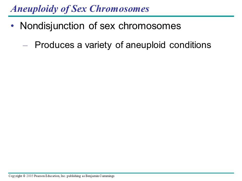 Copyright © 2005 Pearson Education, Inc. publishing as Benjamin Cummings Aneuploidy of Sex Chromosomes Nondisjunction of sex chromosomes – Produces a