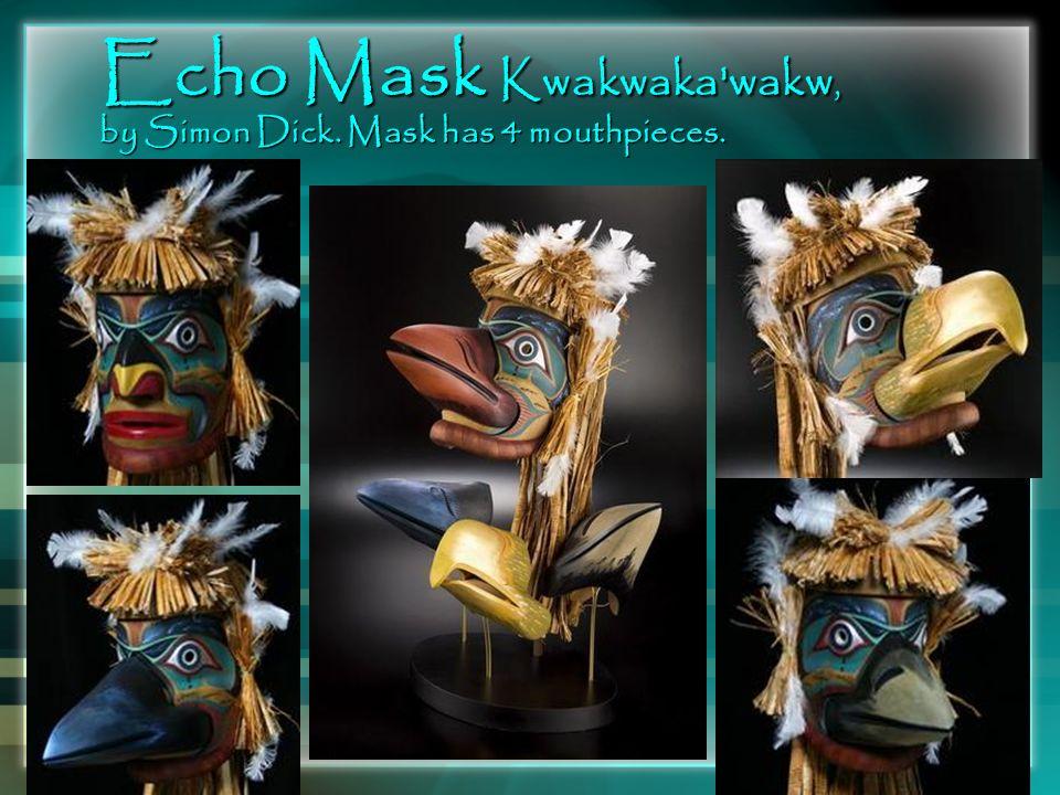Echo Mask Kwakwaka'wakw, by Simon Dick. Mask has 4 mouthpieces.