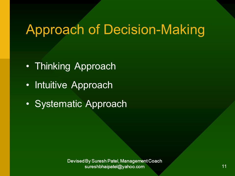 Devised By Suresh Patel, Management Coach sureshbhaipatel@yahoo.com 11 Approach of Decision-Making Thinking Approach Intuitive Approach Systematic Approach
