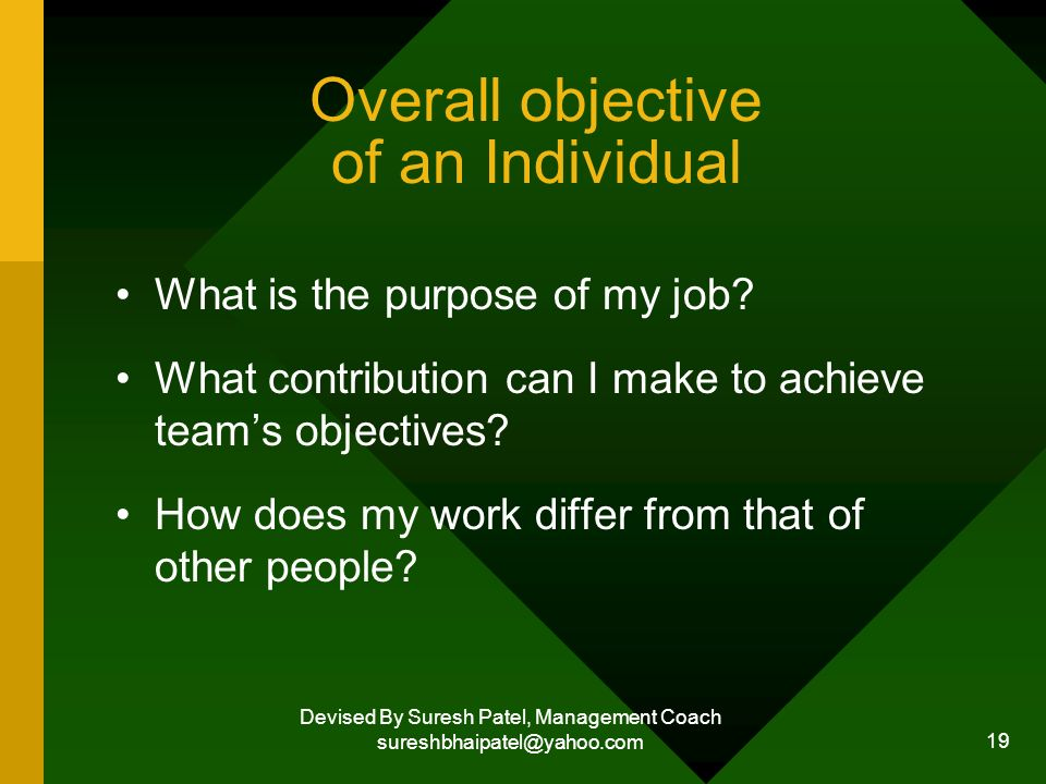 Devised By Suresh Patel, Management Coach sureshbhaipatel@yahoo.com 19 Overall objective of an Individual What is the purpose of my job.