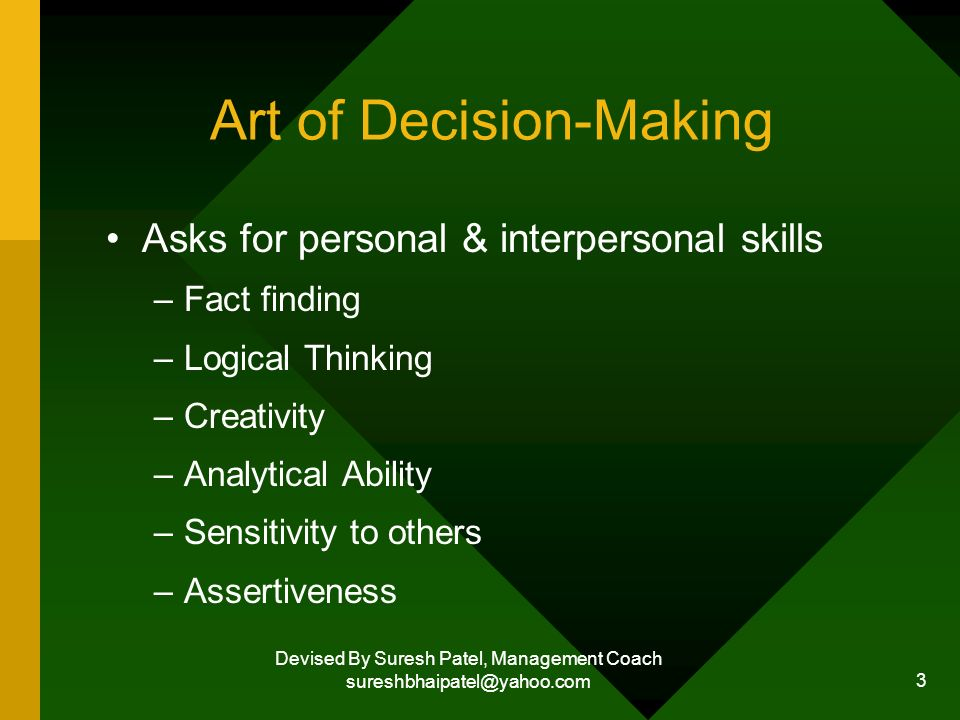 Devised By Suresh Patel, Management Coach sureshbhaipatel@yahoo.com 3 Art of Decision-Making Asks for personal & interpersonal skills –Fact finding –Logical Thinking –Creativity –Analytical Ability –Sensitivity to others –Assertiveness