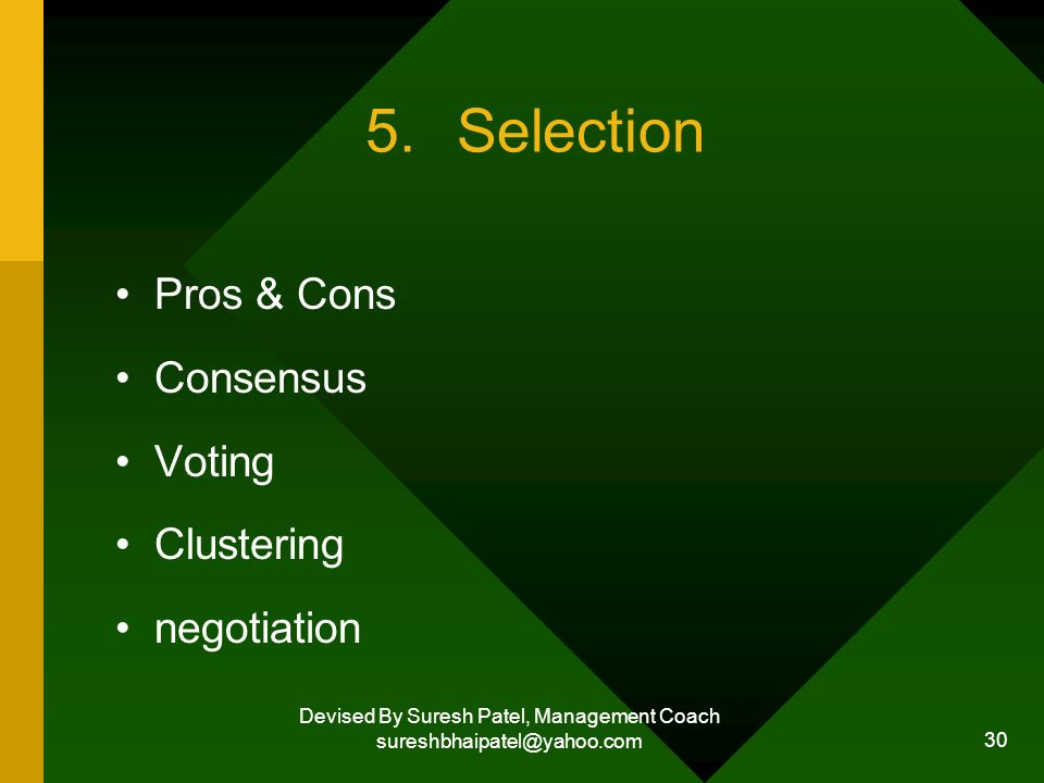 Devised By Suresh Patel, Management Coach sureshbhaipatel@yahoo.com 30 5.Selection Pros & Cons Consensus Voting Clustering negotiation