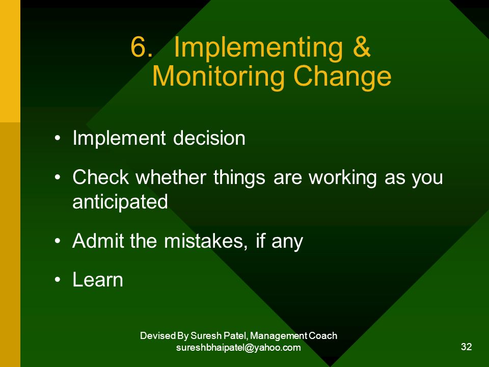 Devised By Suresh Patel, Management Coach sureshbhaipatel@yahoo.com 32 6.Implementing & Monitoring Change Implement decision Check whether things are working as you anticipated Admit the mistakes, if any Learn
