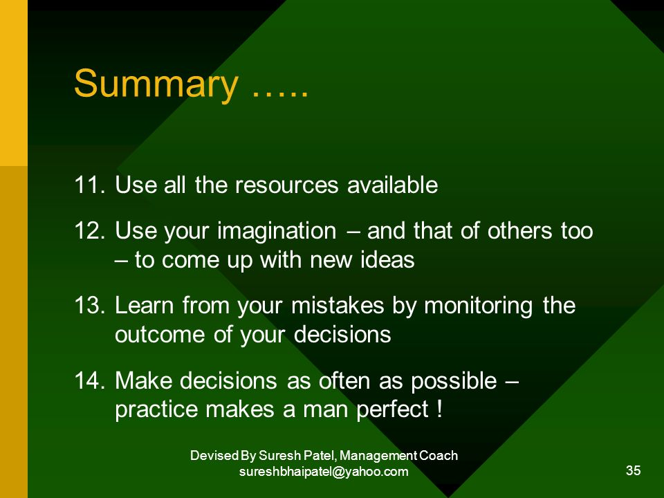 Devised By Suresh Patel, Management Coach sureshbhaipatel@yahoo.com 35 Summary …..