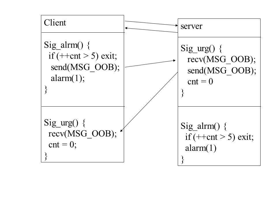 Client Sig_alrm() { if (++cnt > 5) exit; send(MSG_OOB); alarm(1); } Sig_urg() { recv(MSG_OOB); cnt = 0; } server Sig_urg() { recv(MSG_OOB); send(MSG_OOB); cnt = 0 } Sig_alrm() { if (++cnt > 5) exit; alarm(1) }