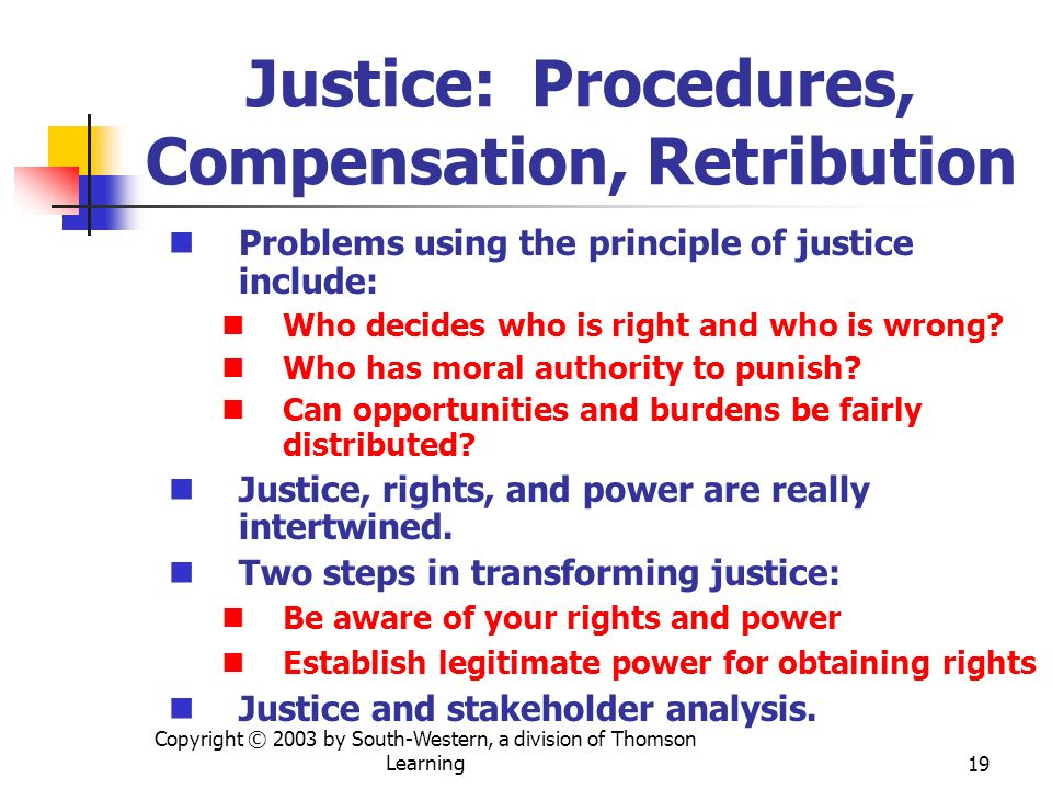 Copyright © 2003 by South-Western, a division of Thomson Learning19 Justice: Procedures, Compensation, Retribution Problems using the principle of jus