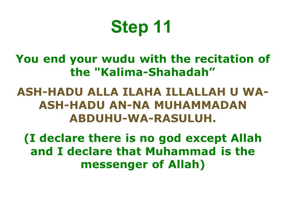 You end your wudu with the recitation of the