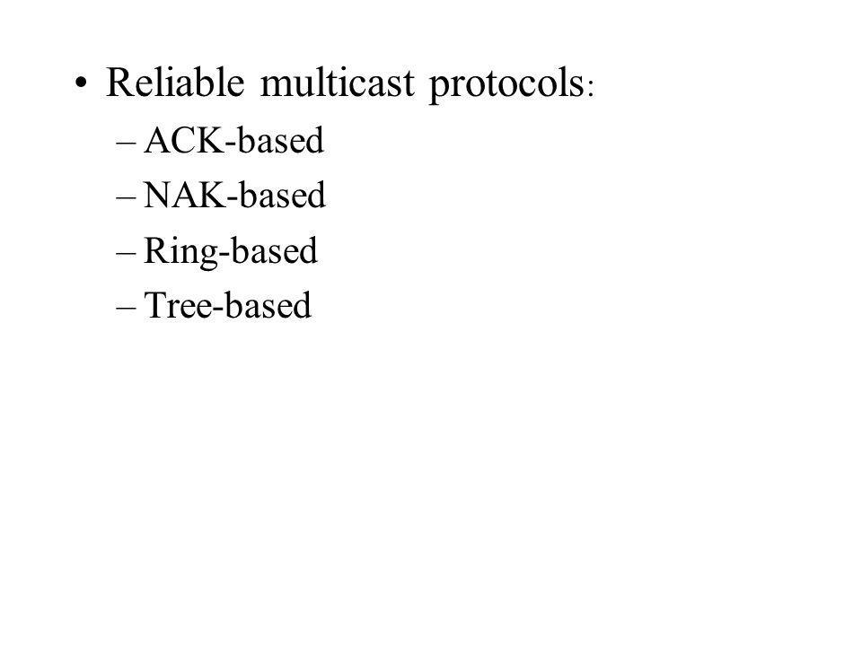 Reliable multicast protocols : –ACK-based –NAK-based –Ring-based –Tree-based