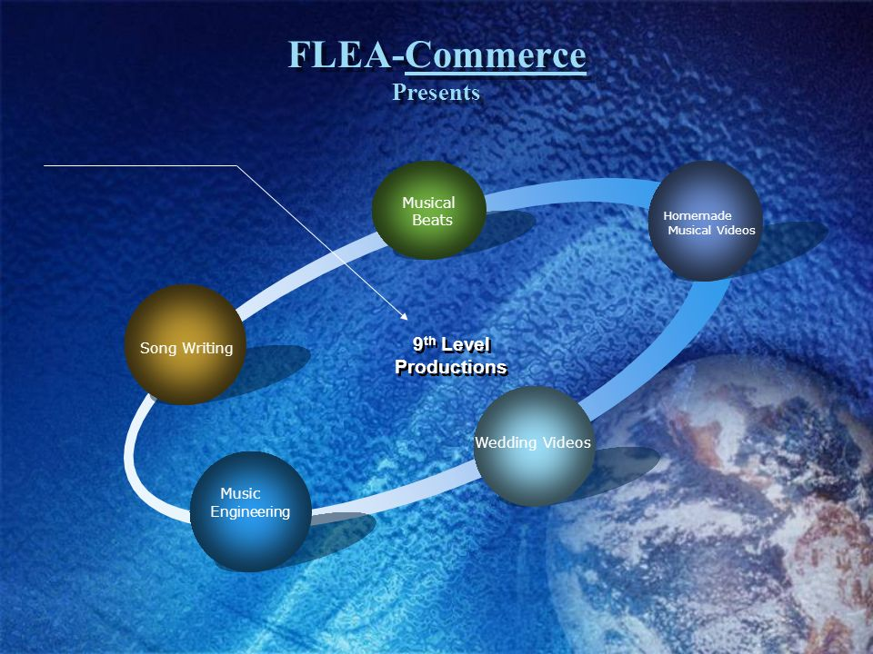 FLEA-Commerce Presents Engineering Song Writing Musical Beats Homemade Musical Videos Wedding Videos Music 9 th Level Productions 9 th Level Productions