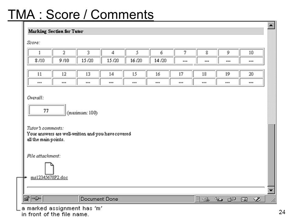 24 TMA : Score / Comments