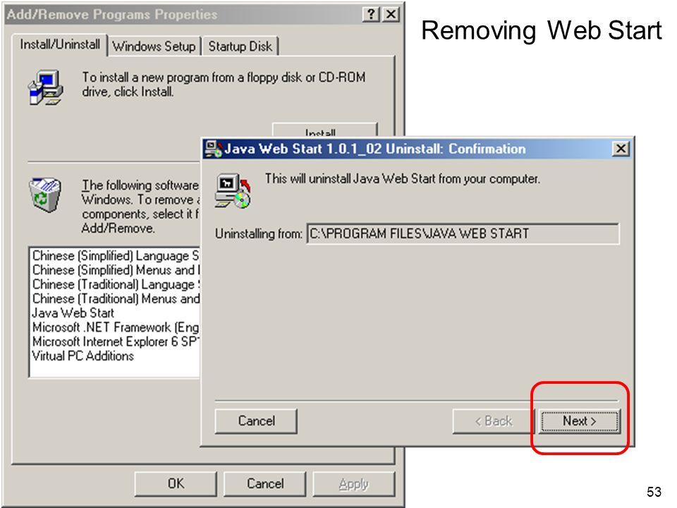 53 Removing Web Start