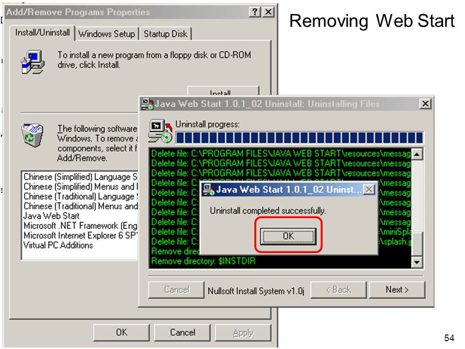 54 Removing Web Start