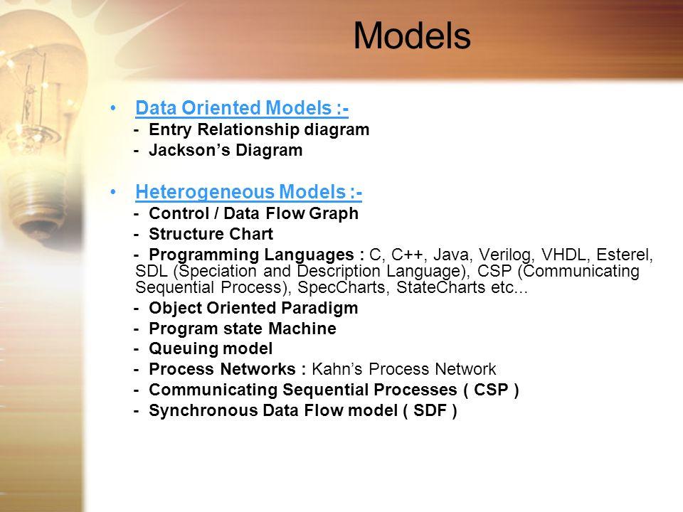 Models Data Oriented Models :- - Entry Relationship diagram - Jacksons Diagram Heterogeneous Models :- - Control / Data Flow Graph - Structure Chart -