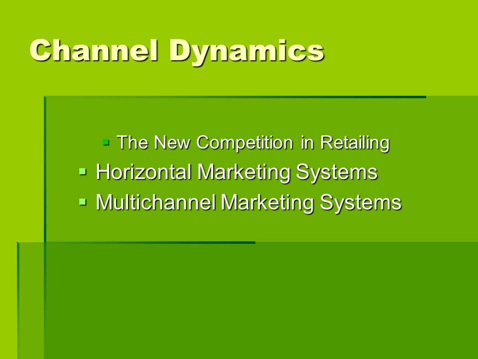 Channel Dynamics The New Competition in Retailing The New Competition in Retailing Horizontal Marketing Systems Horizontal Marketing Systems Multichan