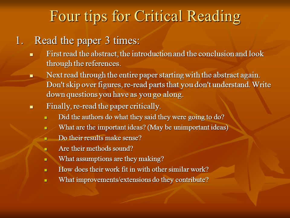 Critically reading a research paper