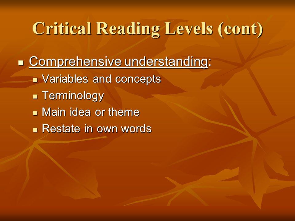 Critical Reading Levels (cont) Comprehensive understanding: Comprehensive understanding: Variables and concepts Variables and concepts Terminology Ter