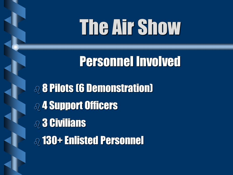 The Air Show Personnel Involved b 8 Pilots (6 Demonstration) b 4 Support Officers b 3 Civilians b 130+ Enlisted Personnel