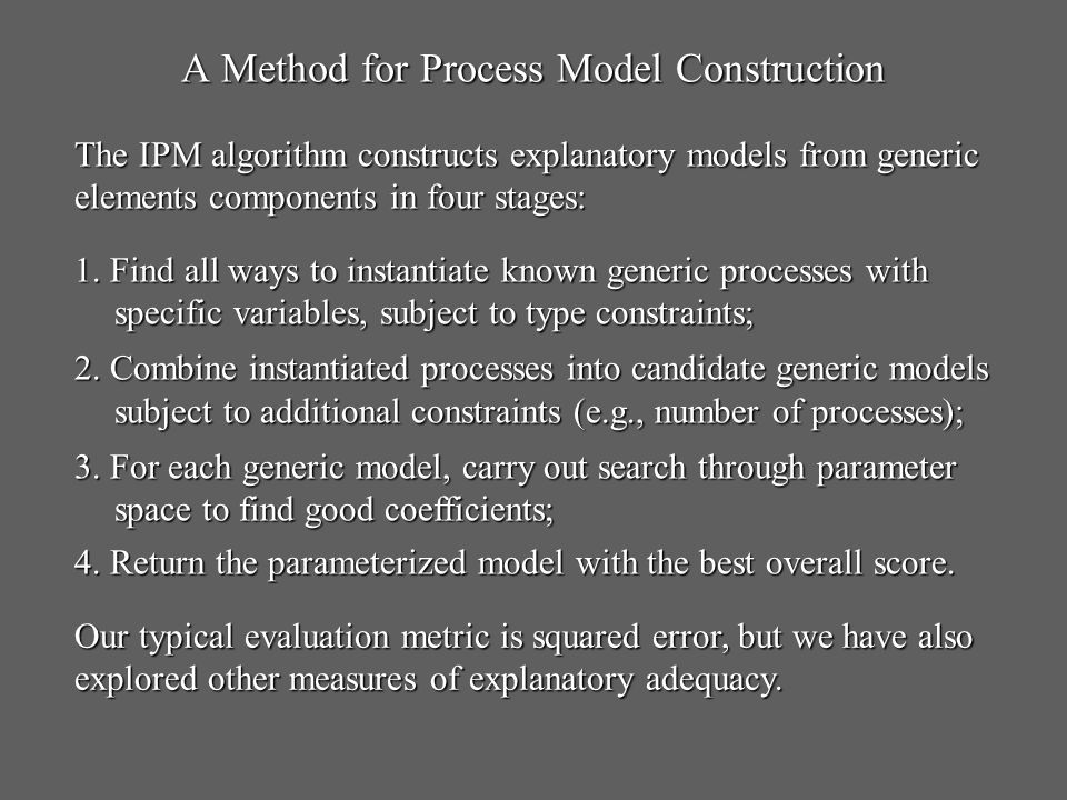A Method for Process Model Construction 1. Find all ways to instantiate known generic processes with specific variables, subject to type constraints;