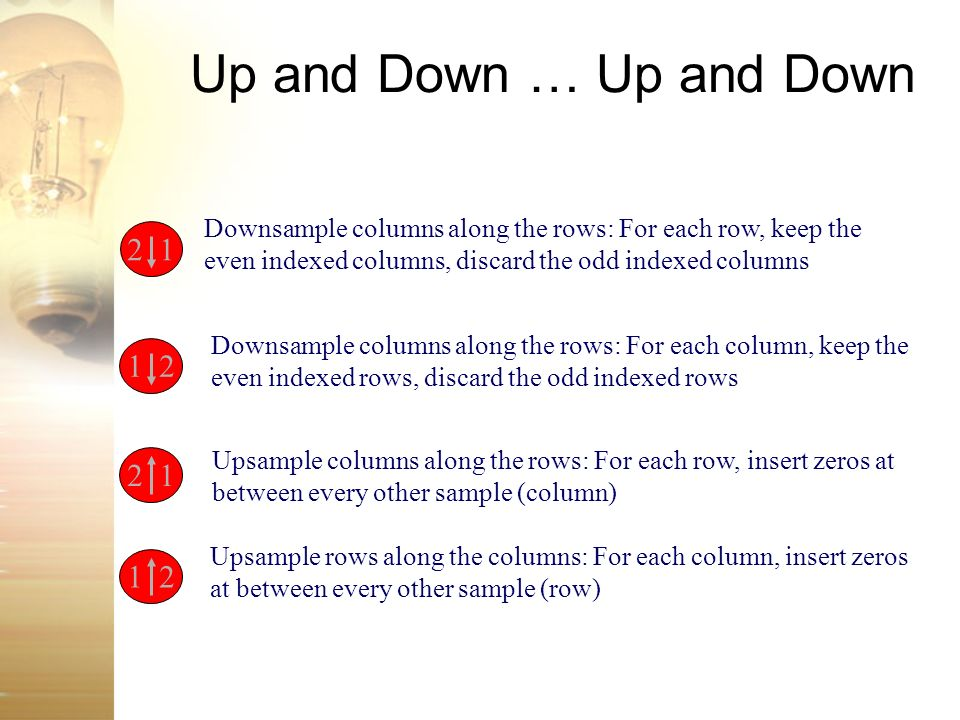 Up and Down … Up and Down 2 1 Downsample columns along the rows: For each row, keep the even indexed columns, discard the odd indexed columns 1 2 Down