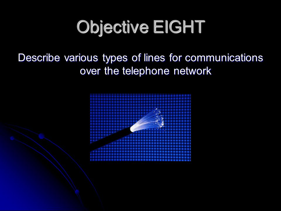 Objective EIGHT Describe various types of lines for communications over the telephone network