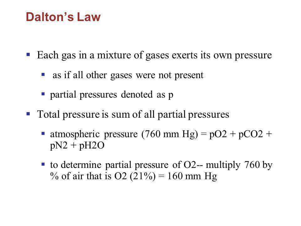 Daltons Law Each gas in a mixture of gases exerts its own pressure as if all other gases were not present partial pressures denoted as p Total pressur
