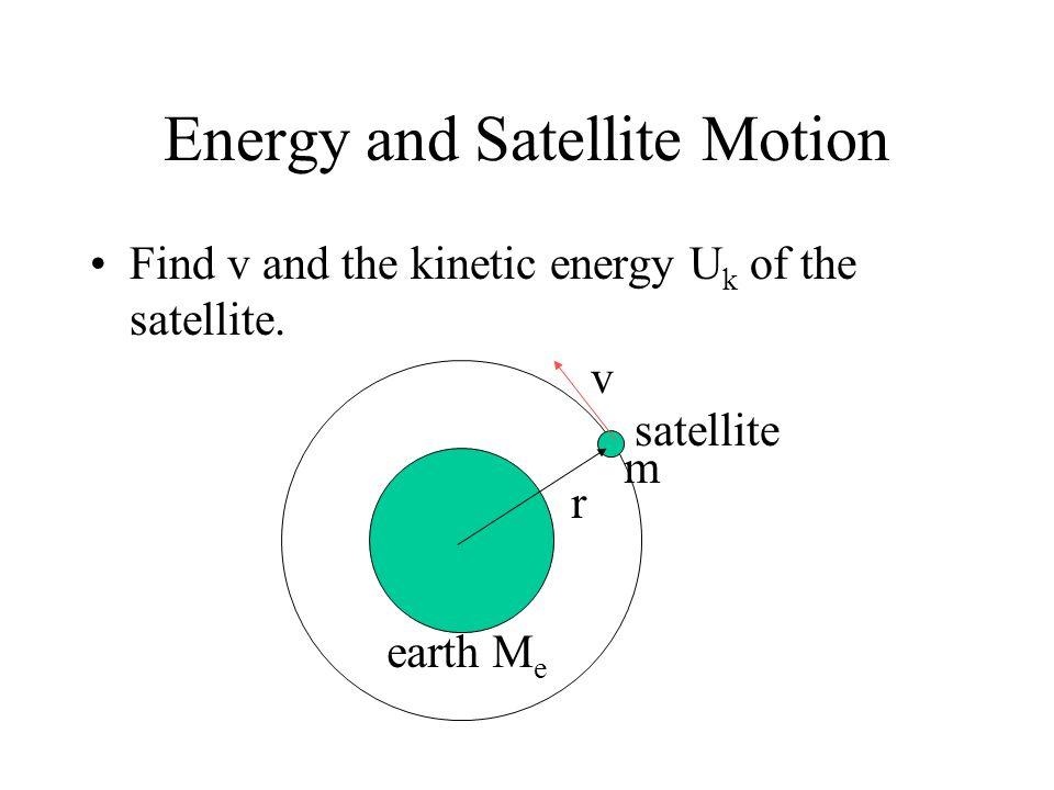 Satellites Near the Earths surface r R e satellite earth vrvr Find v r